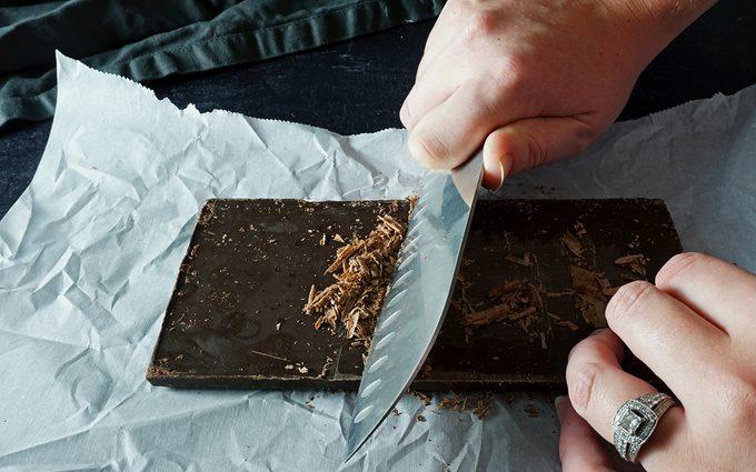 how to make chocolate shavings using a knife