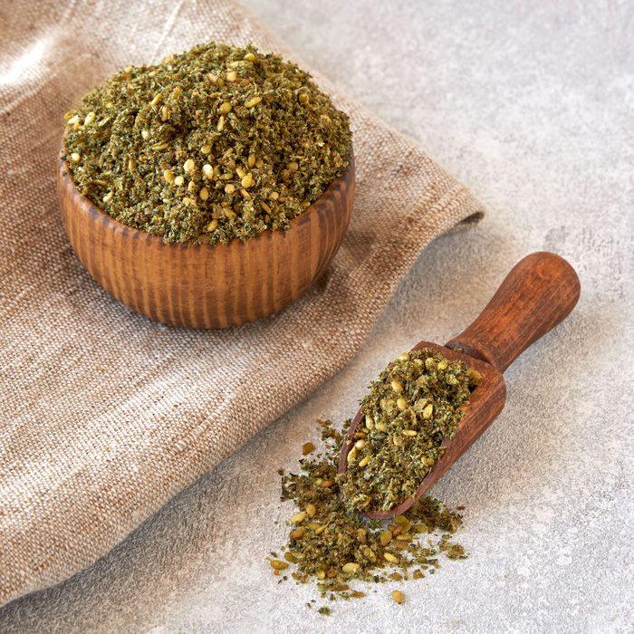 Mixed spice zaatar or zatar in wooden bowl