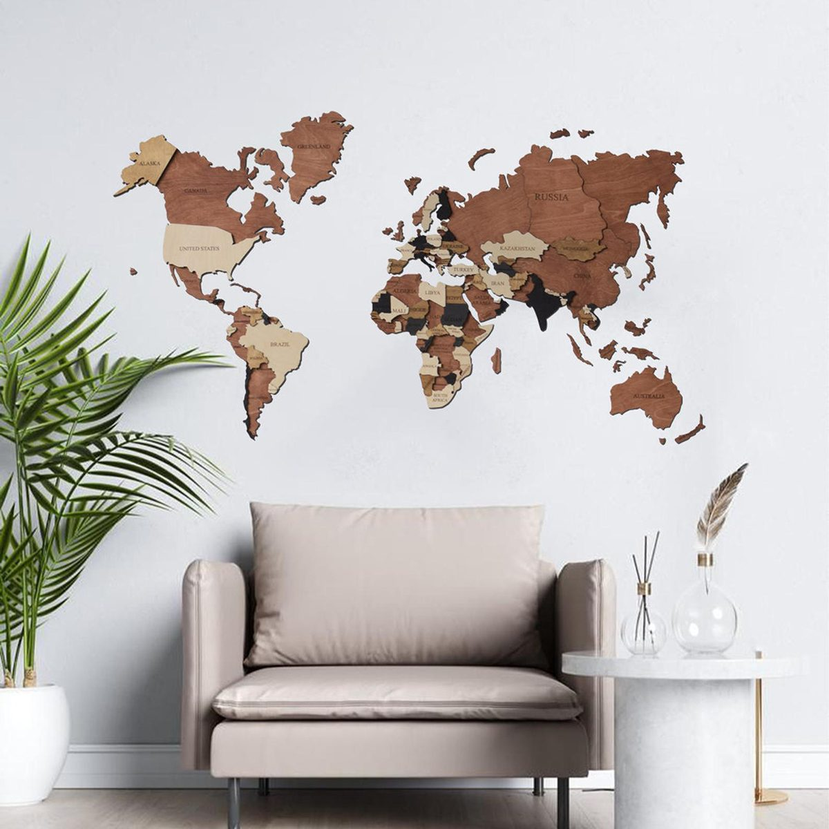 3D World Map Wood Map Wall Art