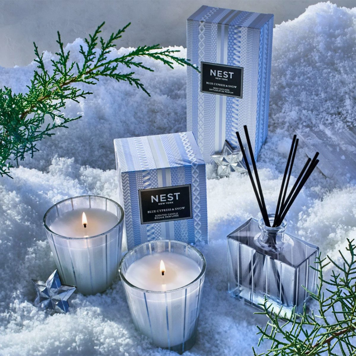Blue Cypress & Snow Classic Candle