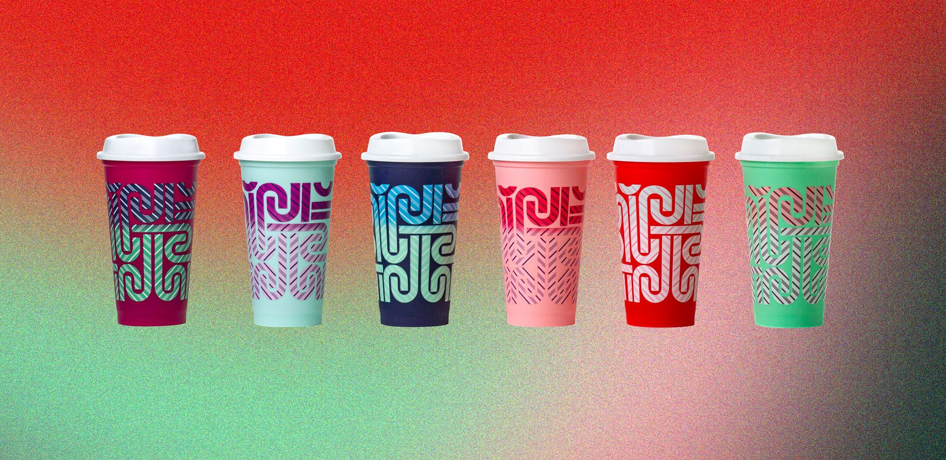 Starbucks new 6-pack of Color Changing Hot Cups are detailed with candy cane prints crop