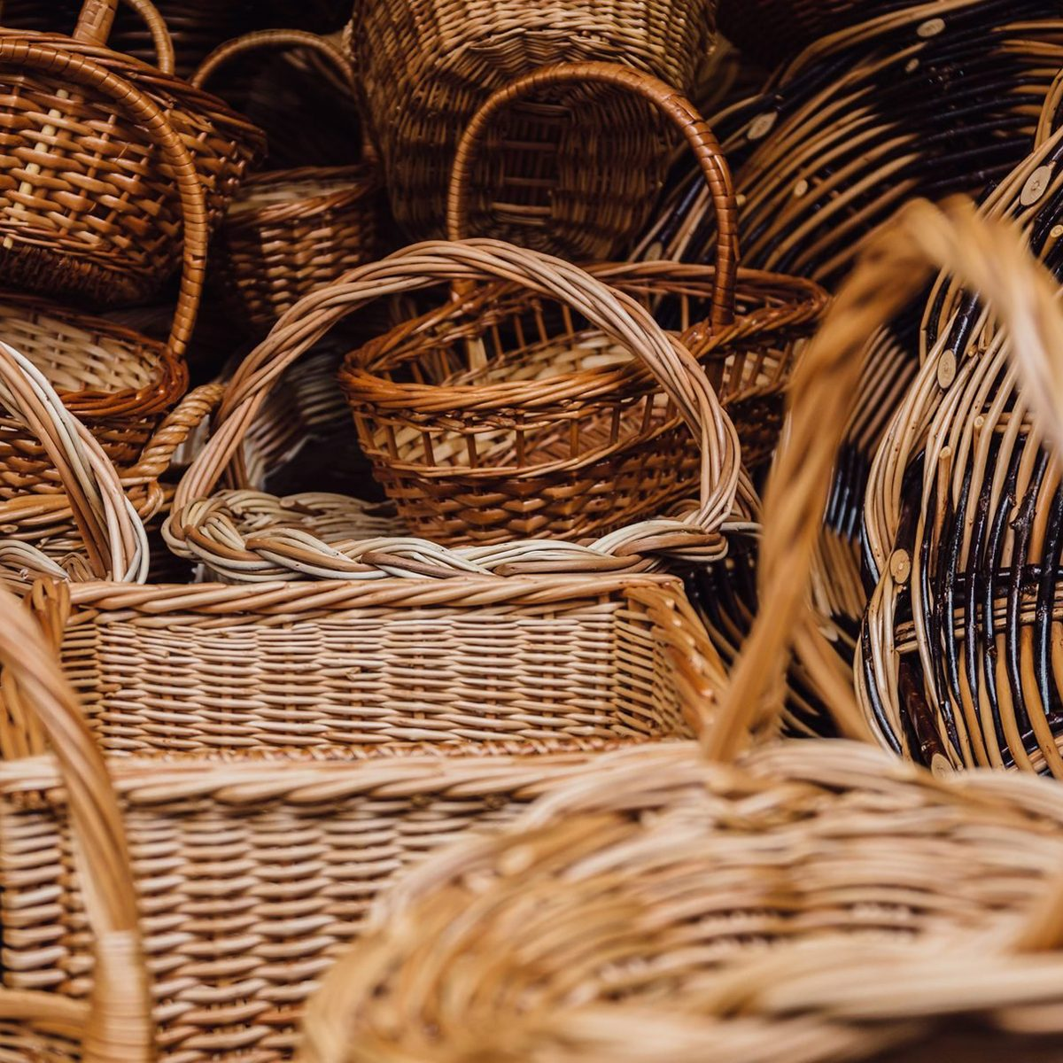 Close-Up Of Wicker Baskets For Sale