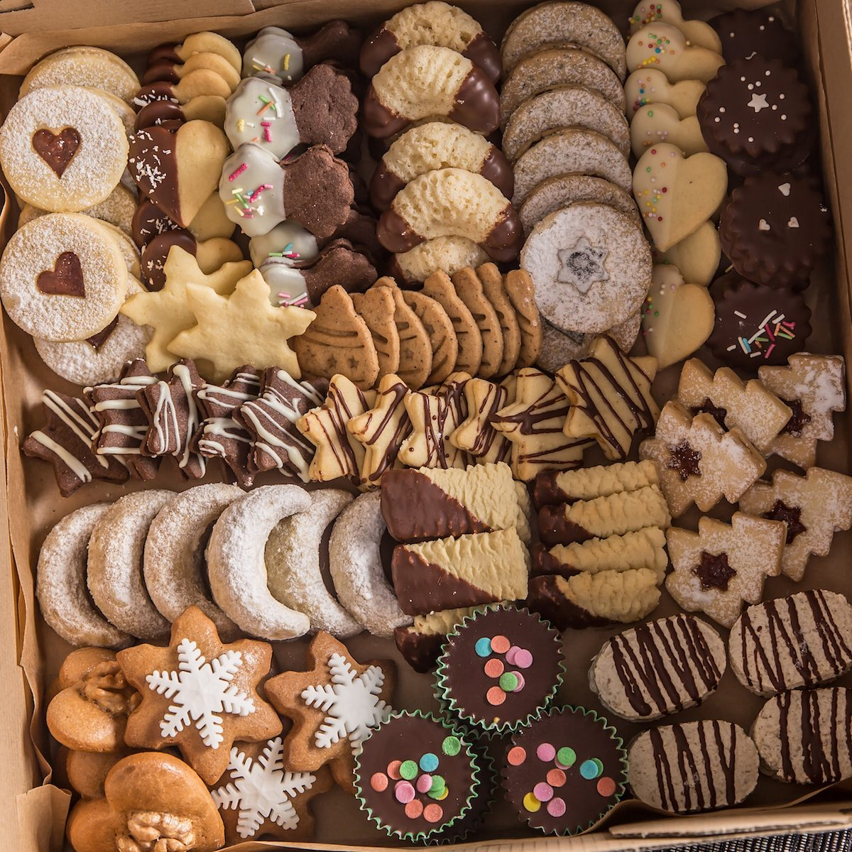 A box full of assorted cookies.