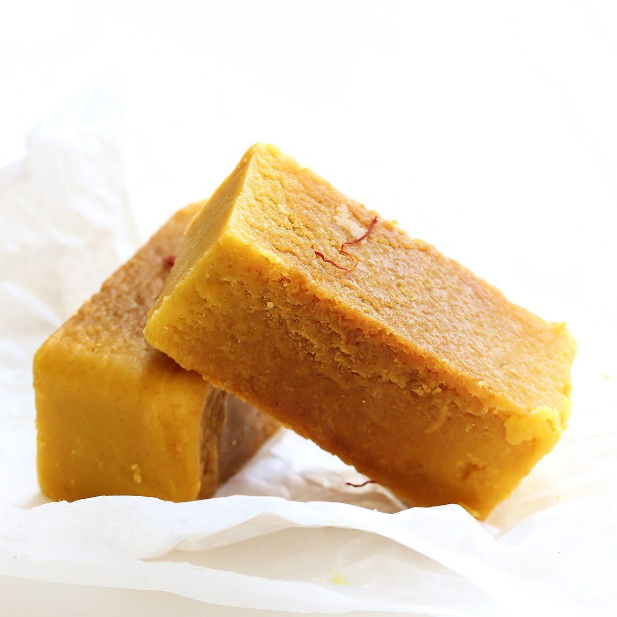 Mysore Pak isolated on white / indian festival sweets