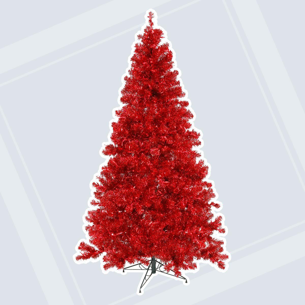 "Vickerman Artificial Christmas Tree 6' x 44"" Red Tree Dura-lit 350 Red Lights 913 Tips"