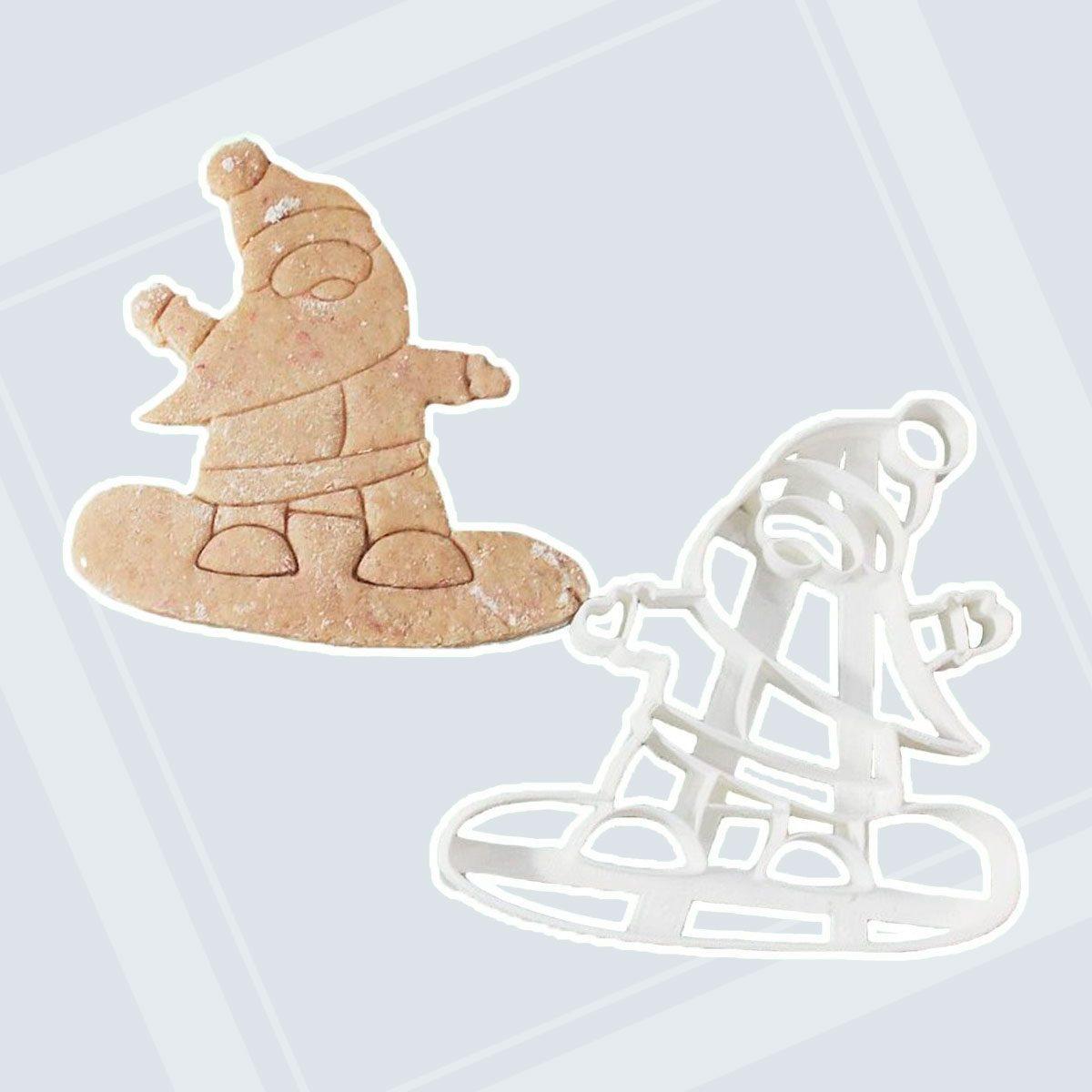 Santa Claus on Snowboard Cookie Cutter