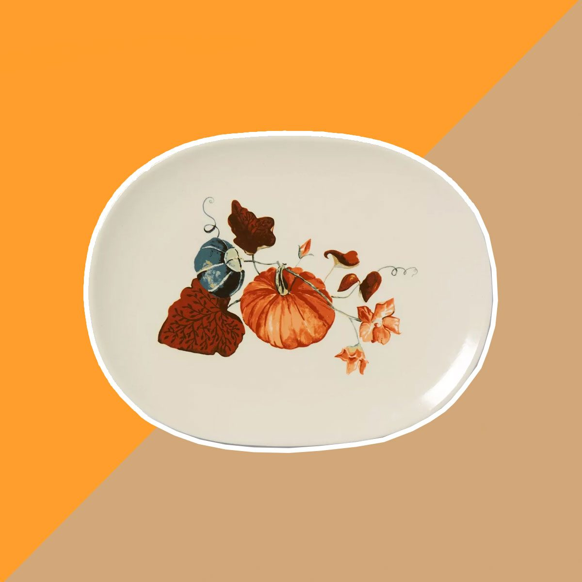 "15"" x 11"" Stoneware Decal Serving Platter White - Threshold™"