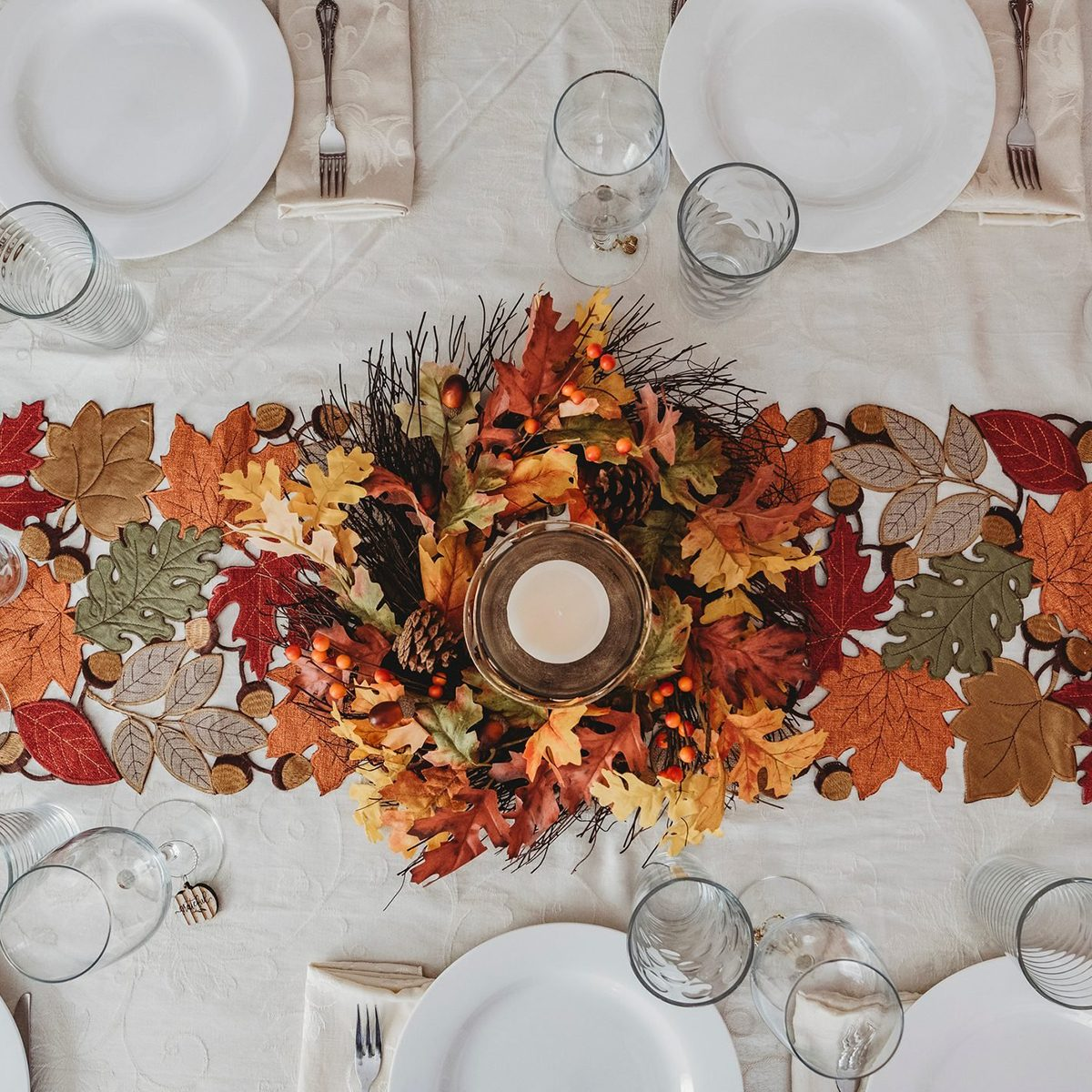 Table festively decorated for autumn holidays