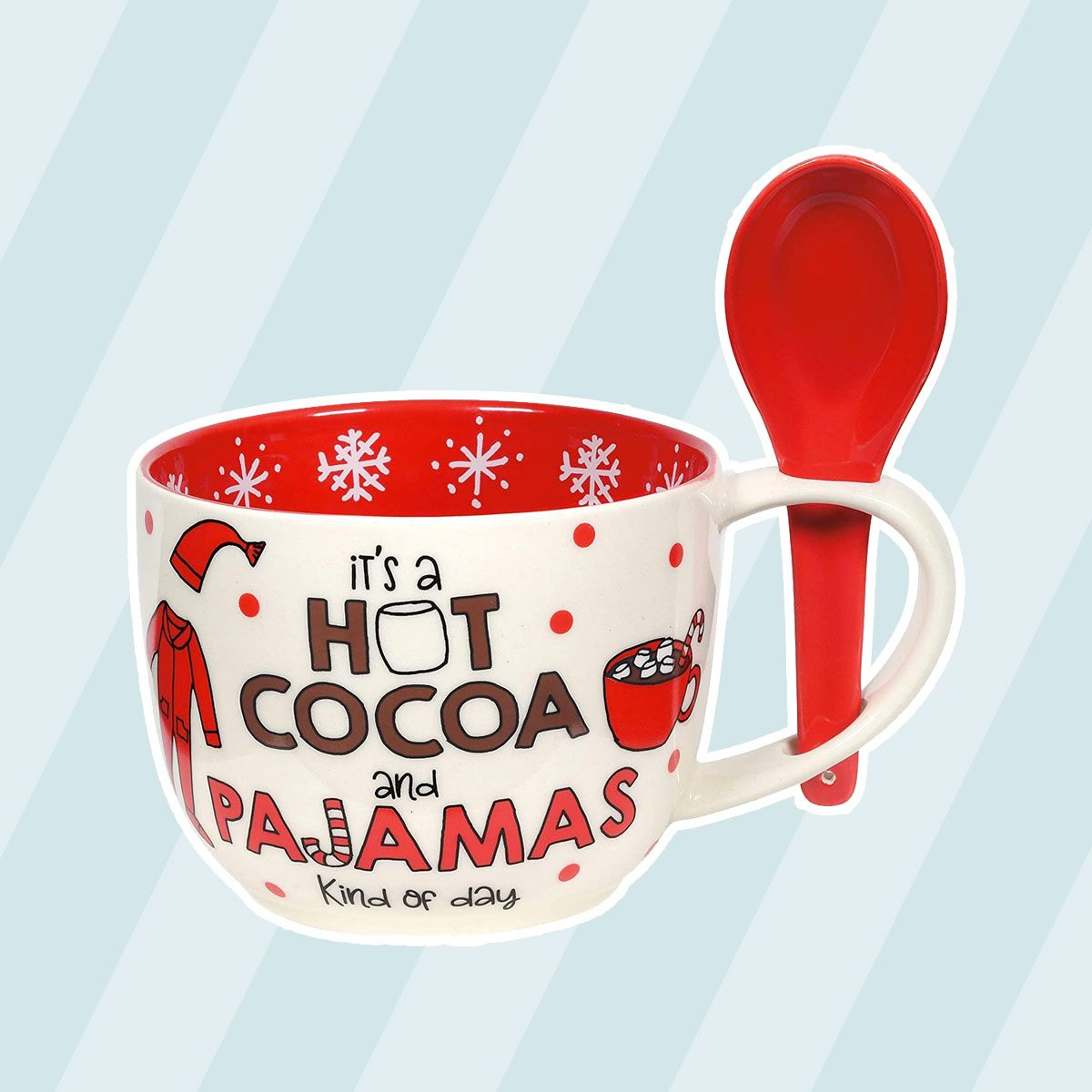 Enesco Our Name is Mud Holiday Hot Cocoa and Pajamas Mug and Spoon Set, 24 Ounce, Multicolor