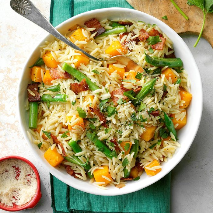 Orzo with Caramelized Butternut Squash and Bacon