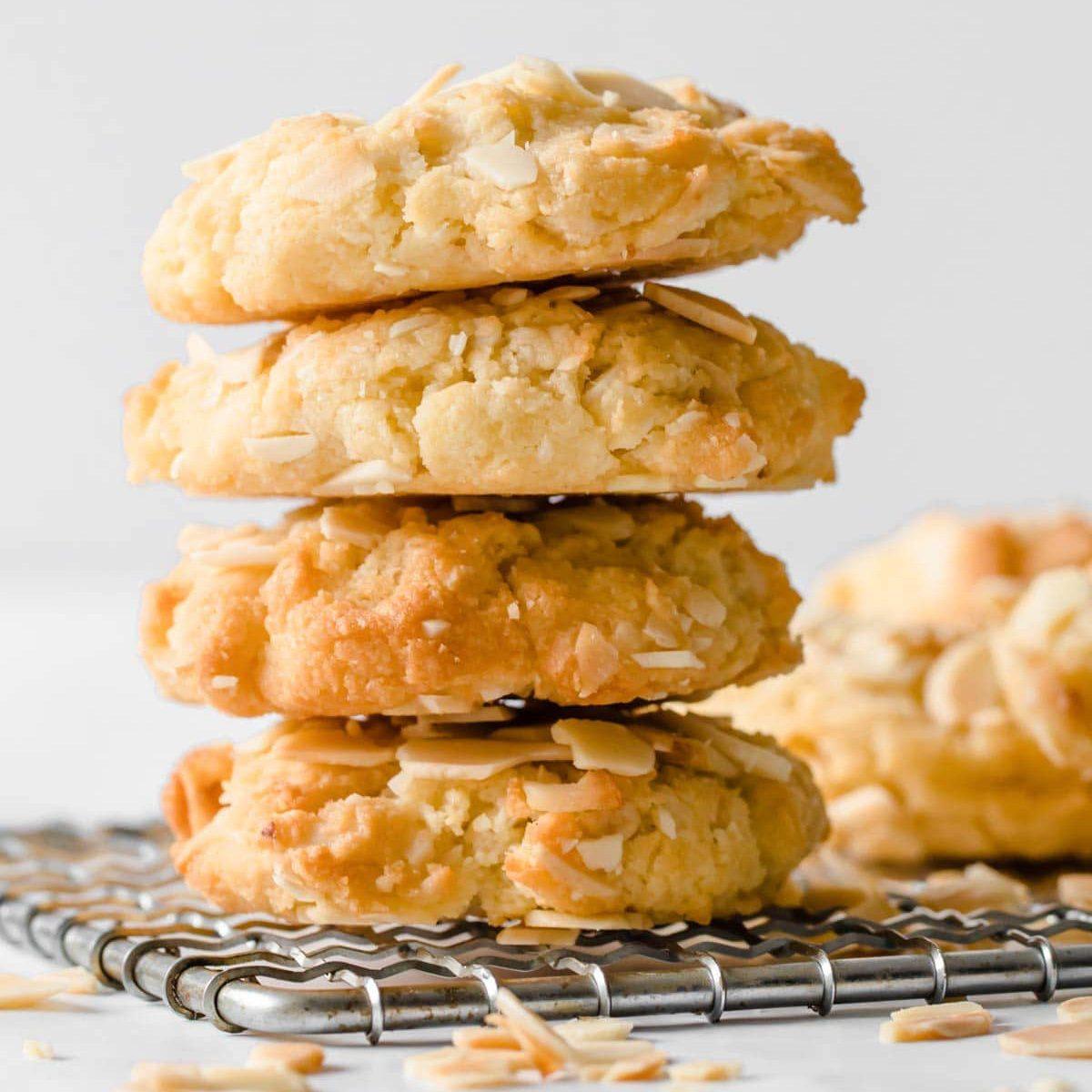 A stack of sugar-free keto oatmeal cookies.