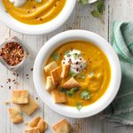 Vegan Squash Soup with Naan Croutons