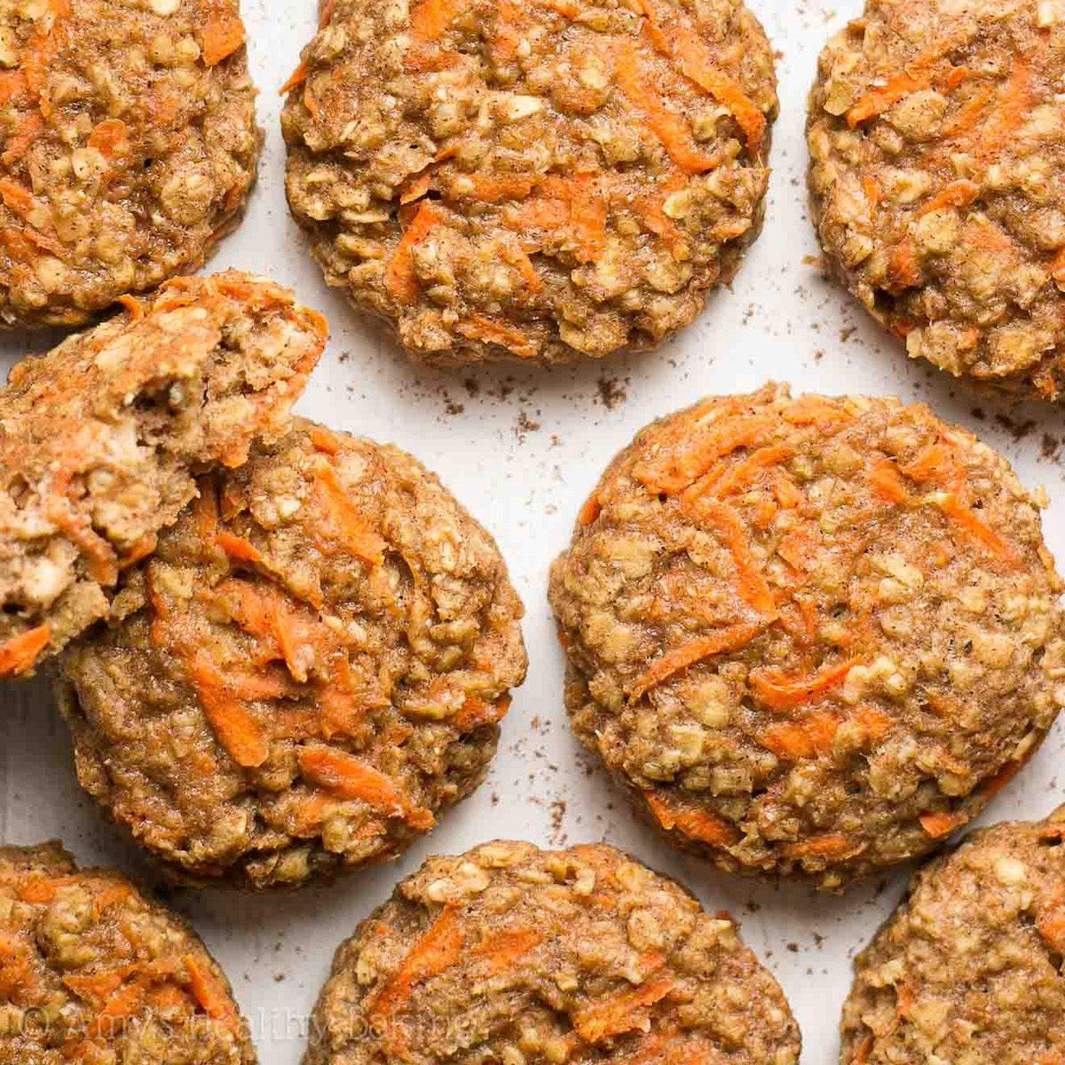 Healthy, sugar-free carrot cake oatmeal cookies.