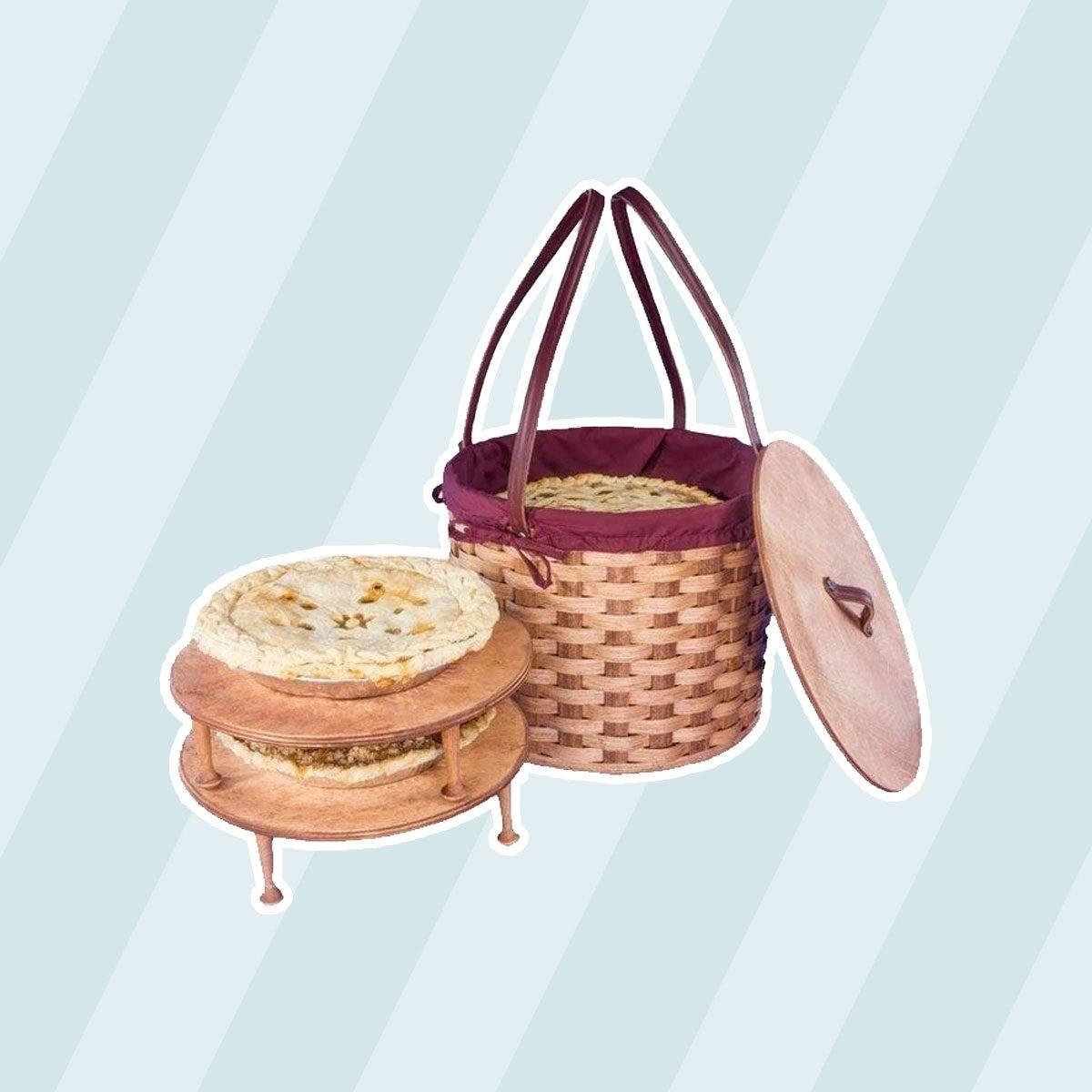 Amish Made Triple Round Three Pie Carrier Basket