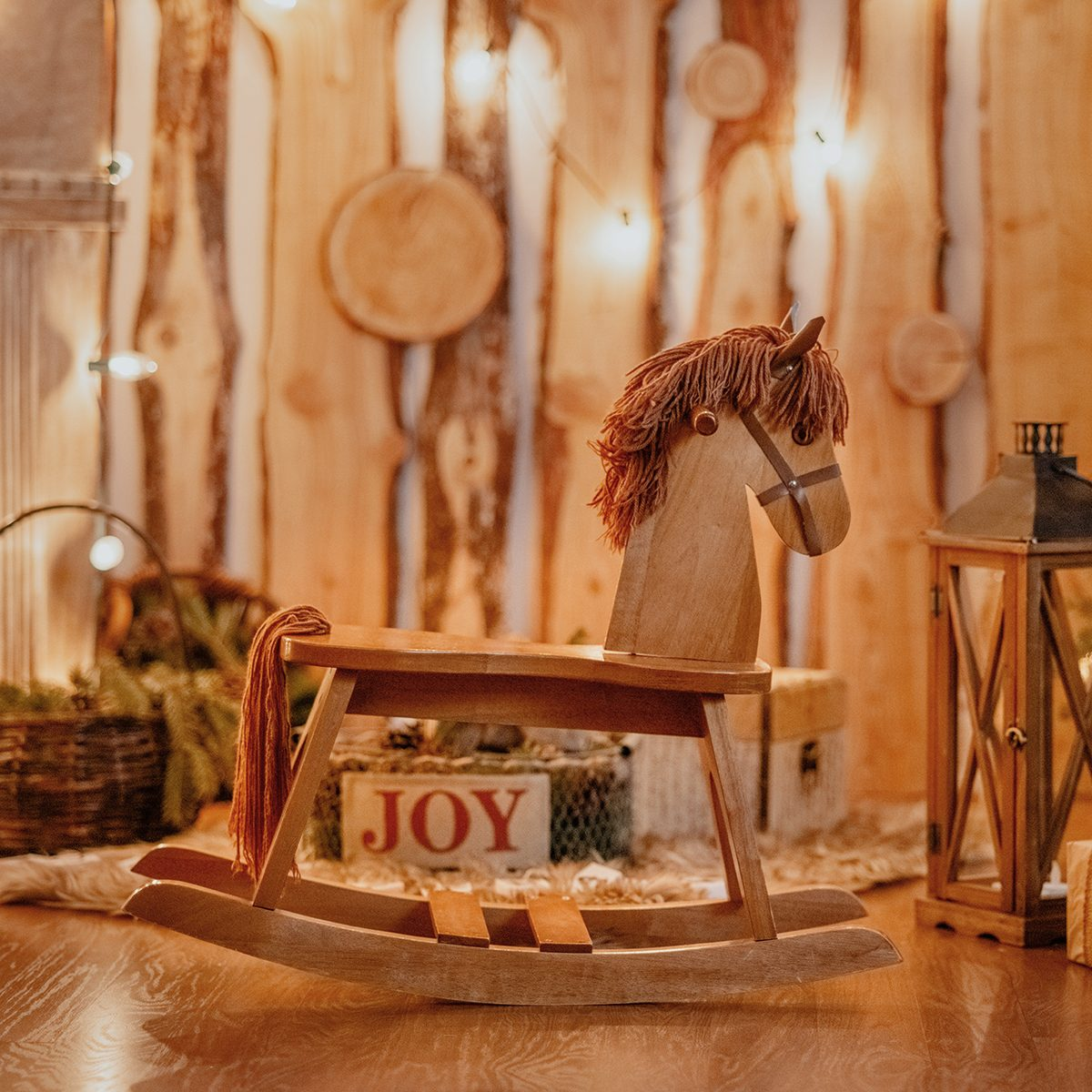 Wooden horse in Christmas decorations