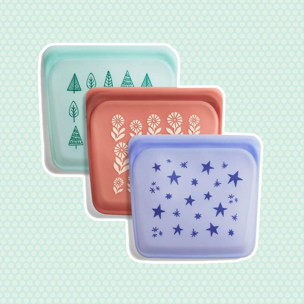 REUSABLE SILICONE BAG HOLIDAY PRINT TRIO