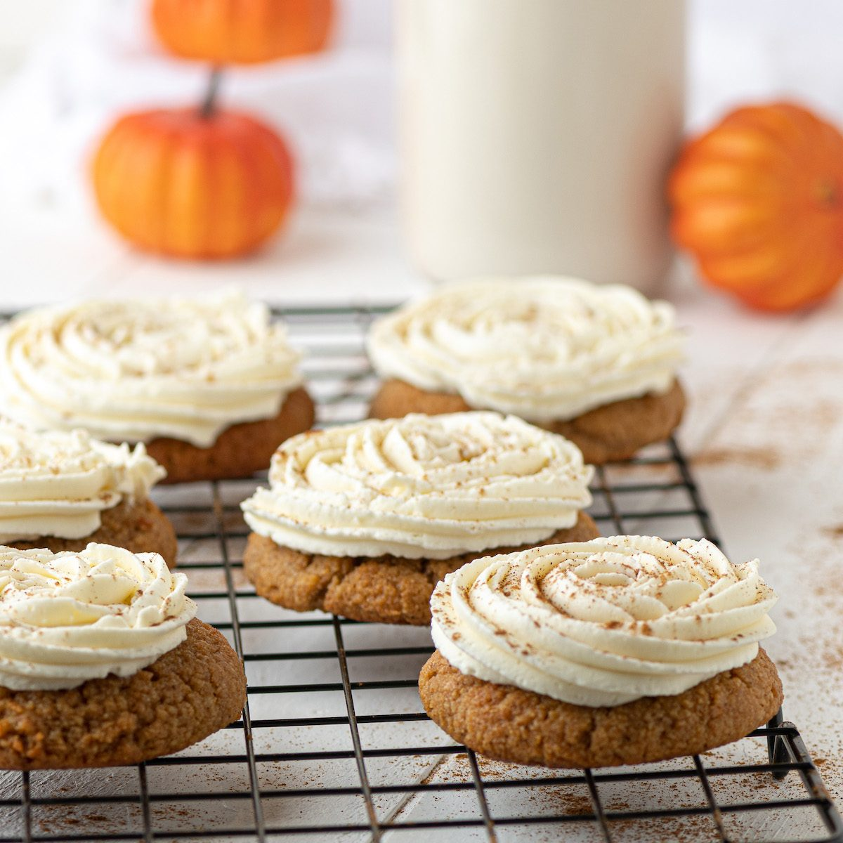 Sugar-free, low carb keto pumpkin cookies with frosting