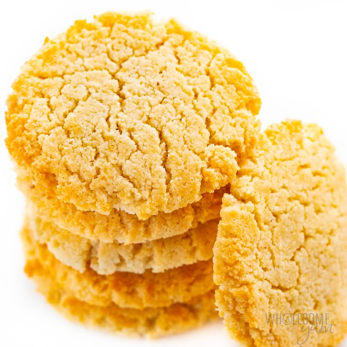 A stack of low-carb, sugar-free, keto cream cheese cookies.
