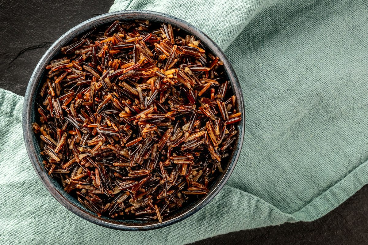 Wild Black Rice, Shot From Above On A Dark Background With Copy Space
