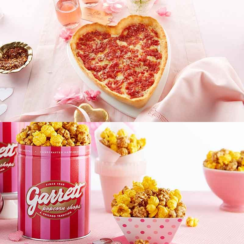 Heart Shaped Pizza And Popcorn