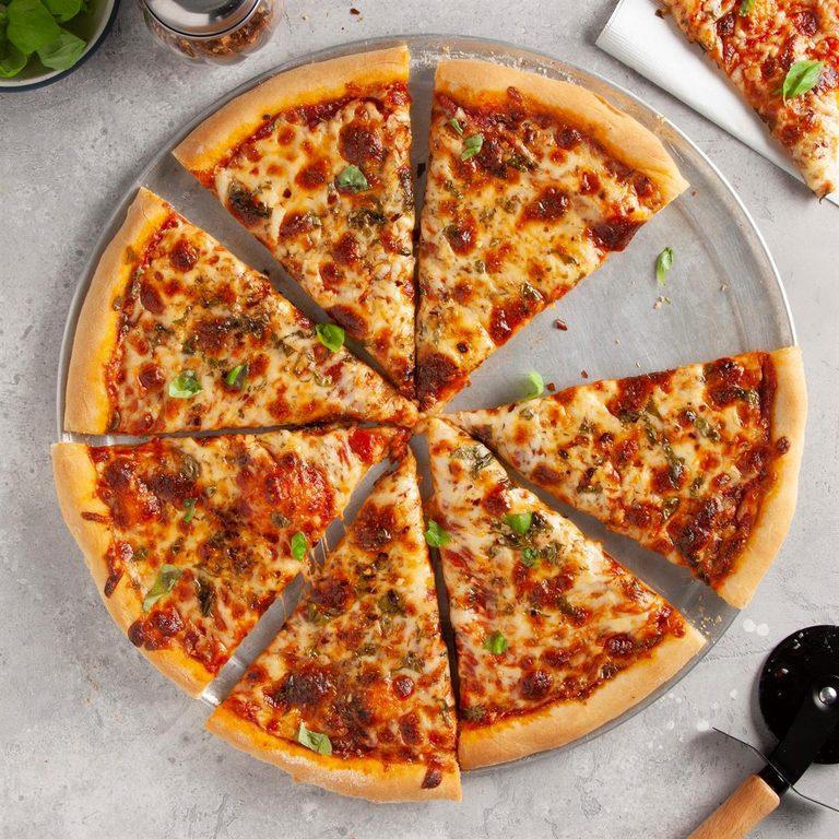 Homemade New York-style pizza