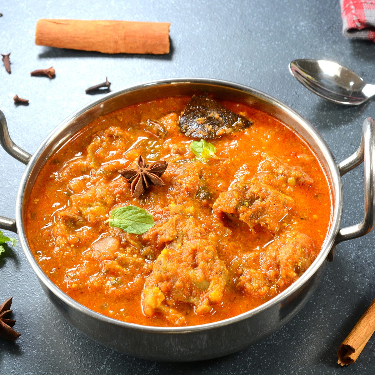 indian main dishes Rogan Josh in a bowl. It is a popular Indian goat mutton curry.