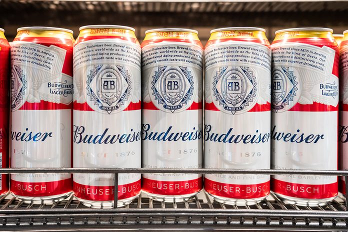 SHENZHEN, CHINA - 2020/10/05: Budweiser beer cans displayed for sale in a supermarket. (Photo by Alex Tai/SOPA Images/LightRocket via Getty Images)
