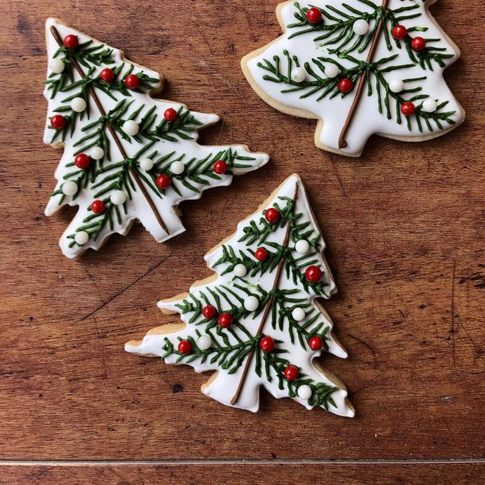 Rosemary Shortbread Christmas Tree Cookies