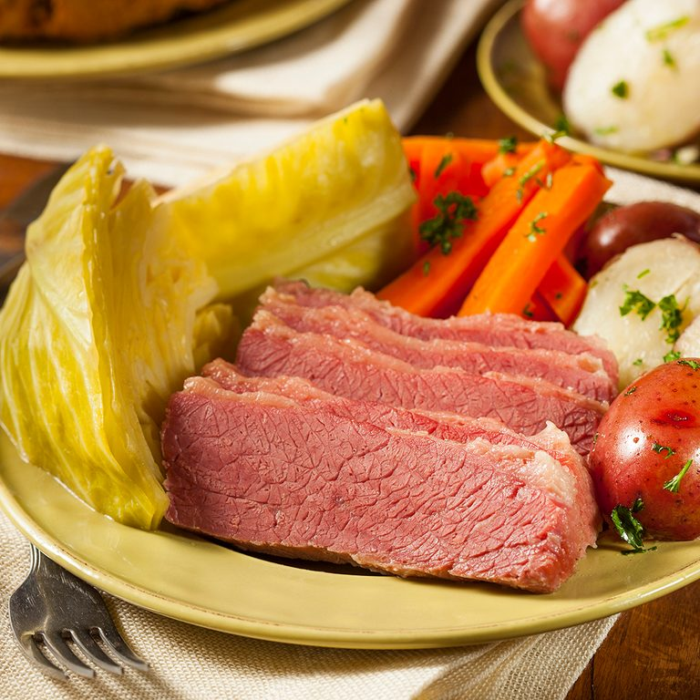 Homemade Corned Beef and Cabbage with Potatoes and Carrots