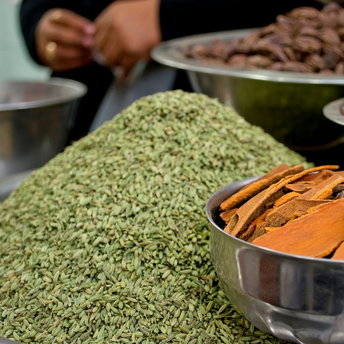indian spices Fennel Seeds And Cinnamon For Sale At Market.india. (Photo by: Madhurima Sil/IndiaPictures/Universal Images Group via Getty Images)