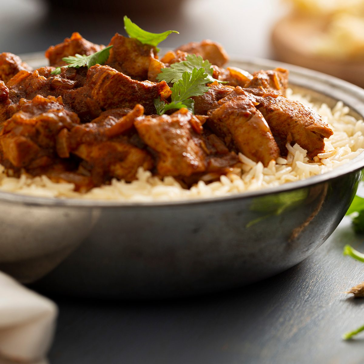indian main dishes Indian Food Chicken Vindaloo Curry Over Basmati Rice