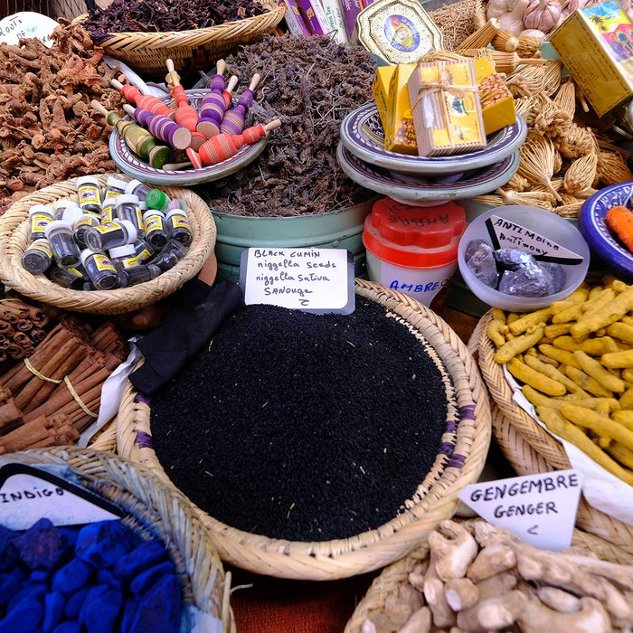 MARRAKESH, MOROCCO - NOVEMBER 7: Nigella seeds and other souvenirs are piled up outside a souvenir store in the medina district of Marrakesh, Morocco on November 7, 2018. (Photo by Yuriko Nakao/Getty Images)