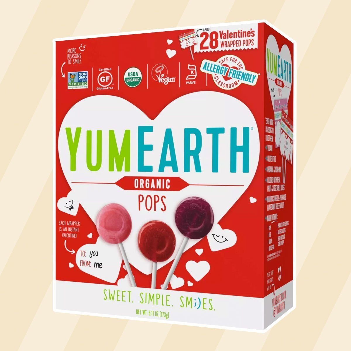 edible valentine's gifts Yum Earth Pops