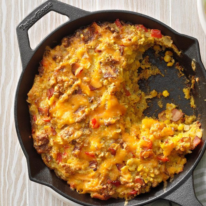 Cheddar Corn Pudding with Bacon