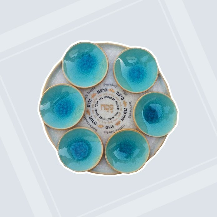 buy passover seder plate Michal Ben Yosef Handmade Ceramic Seder Plate Turquoise And Gold+85 20343 500x500