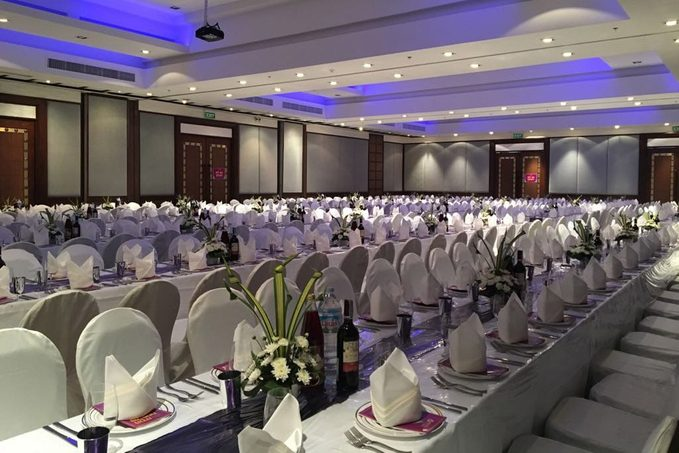 Tables are set for one of the world's largest Passover Seders in Phuket, Thailand.
