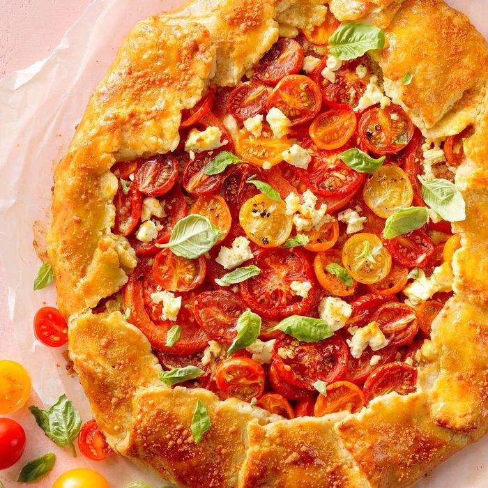 Tomato Galette with Basil Pesto and Feta