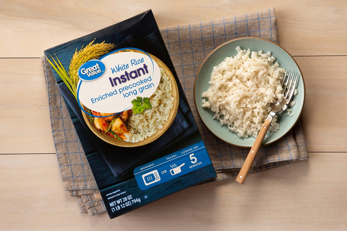 Overhead Shot Of Great Value White Rice In Package And On Plate