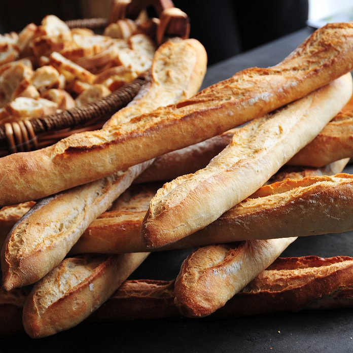 types of french bread French baguettes on display at a bakery exhibition in Paris