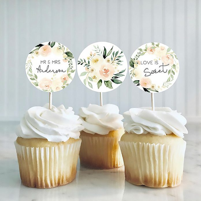 Blush Bridal Shower Cupcake Toppers, Printable Cupcake Toppers, Editable Bridal Shower Toppers, Edit with TEMPLETT, WLP-BLU 2672