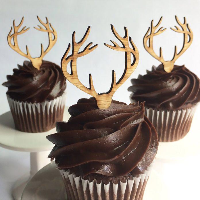 12 Wood Deer Antler Cupcake Toppers