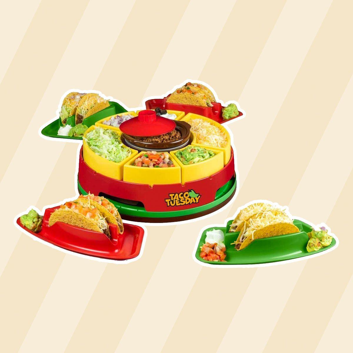 Nostalgia Taco Tuesday Heated Lazy Susan Topping Bar