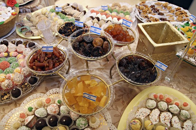 A table of sweets and jams for Mimouna, a traditional North African Jewish celebration held the day after Passover.