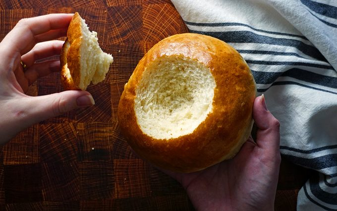 carefully remove the top of the bread bowl copycat panera bread bowl