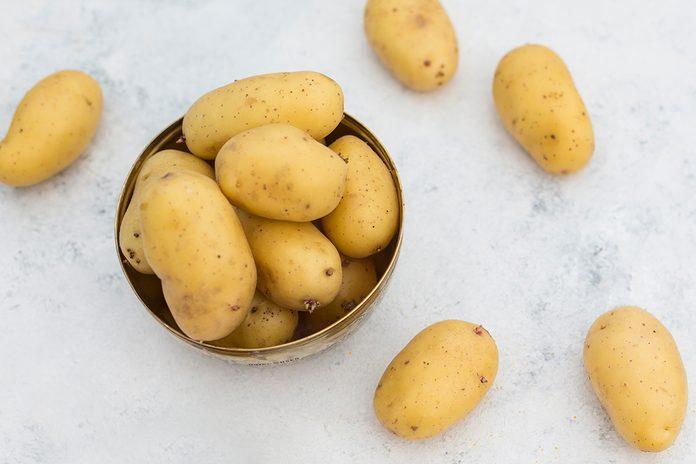 Fresh Ripe Potatoes On Table