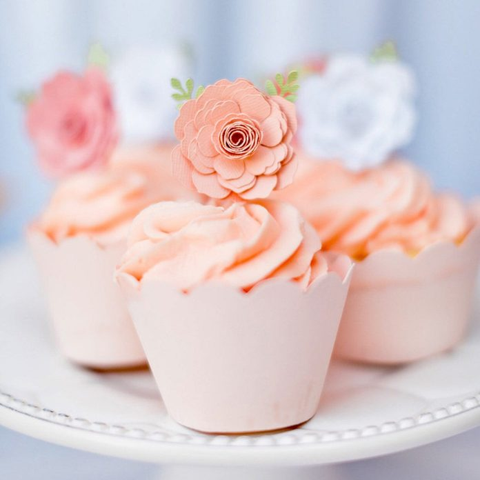 12ct Rose cupcake topper, flower cupcake toppers, tea party cupcake toppers, paper flower cupcake toppers