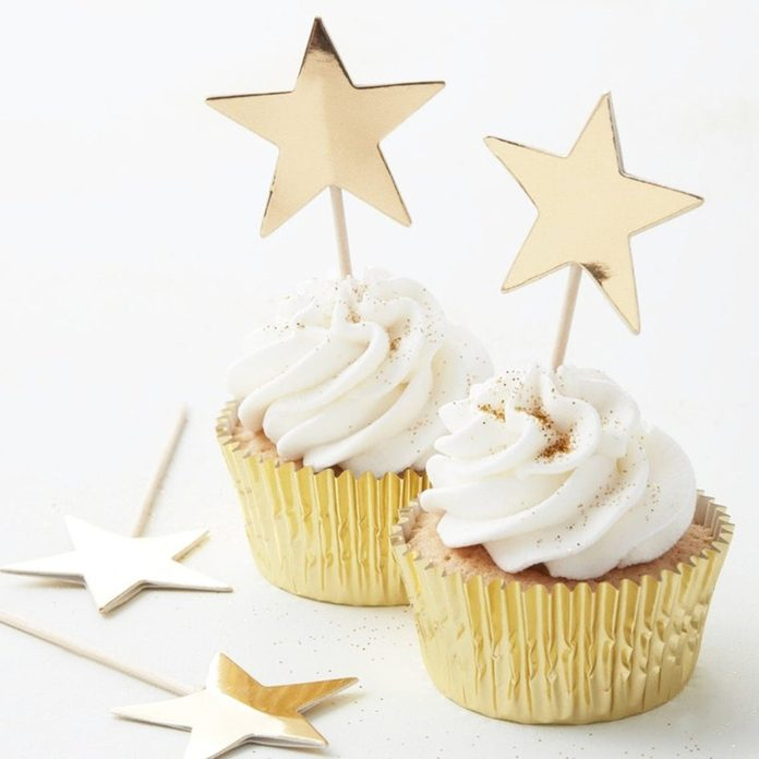 10 Gold Foiled Star Cake Toppers, Cupcake Toppers, Party Cake Toppers, Birthday Cake Decoration, Wedding Decor, Hen Party, Gold Baby Shower