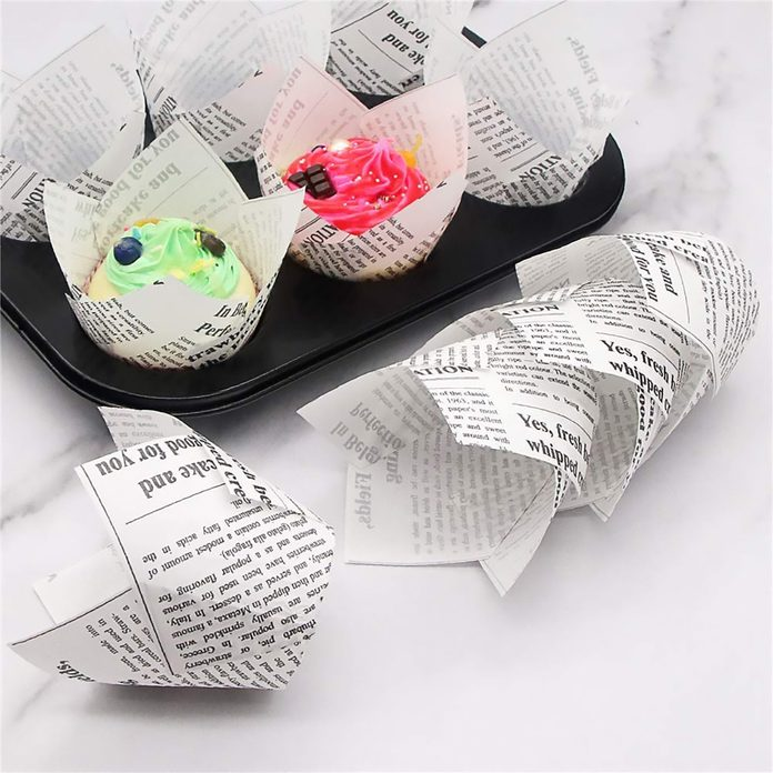 150pcs Tulip Cupcake Liners Baking Cups Muffin Holders Baking Liners Rustic Cupcake Wrappers for Wedding, Birthday, Baby Shower Parties, Standard Size, White Newspaper Printed