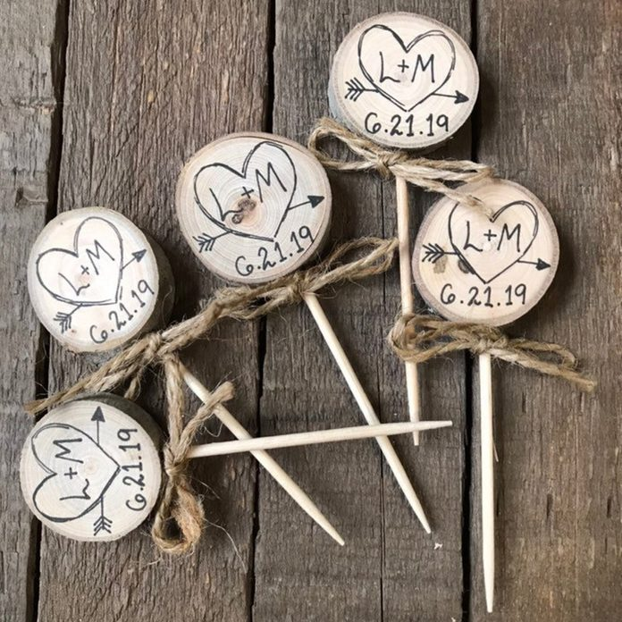 Twine Bows Cupcake Toppers Rustic Wedding Decor Custom Initials & Date / Heart Arrow / Engagement Rustic Bridal Shower Decor Party Picks