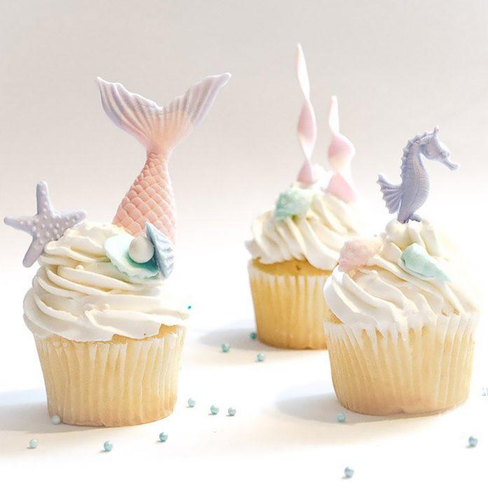 1 set Under the Sea Mermaid scales cake cupcake toppers, Mermaid Tails, Beach wedding, Girl Birthday, sea horse, seaweeds, free shipping